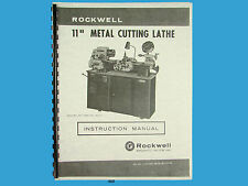 Rockwell 11 inch Metal Lathe Instruction Manual s/n: 138-9101 & up *469
