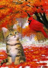 Tabby kitten cat cardinal bird autumn fall snow OE ACEO print of painting art
