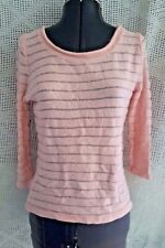 Womens H&M Soft Pink Peach Striped Knit Angora Blend Sweater Top Sleeves Small