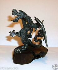 PEWTER WINGED DRAGON FIGURINE WITH JEWELS ON WOOD BASE MAKER UNKNOWN TUDOR MINT?