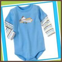 NWT 0-3 gymboree BRAND NEW BABY long sleeve AIRPLANE bodysuit 1pc BLUE COTTON