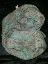 NEW NWT $68 Tahari Grey/Mint Abstract Jacquard Knit Infinity Scarf