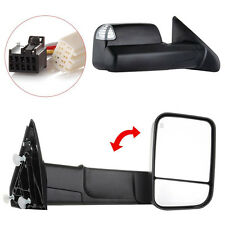 Black Power Heated Towing Mirrors Set For Dodge Ram 1500 2500 3500 Pickup 09-15
