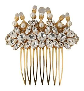 DOLCE & GABBANA Comb Gold Brass Clear Crystal Hair Stick Accessory NEW