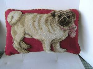 """Vintage Needlepoint PUG Pillow partially handhooked 25"""" x 15"""" Complete Stunning!"""