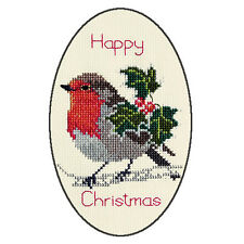 Derwentwater Designs Christmas Cross Stitch Card Kit - Holly And Robin
