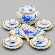 1:12 Dollhouse Ceramic Tea Cup Set Miniature Beauty Blue Flower Porcelain Decor