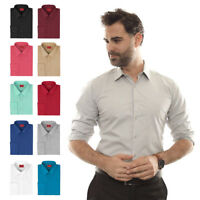 Men's Button Up Long Sleeve Slim Fit Stretchy Cotton Spandex Dress Shirt