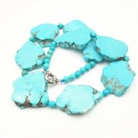 Blue Turquoises Freeform Shape 6mm Faceted Beads Fashion Necklace 19''/48cm