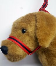 Figure of eight Airweb cushion  dog halter headcollar & Lead in one Red & Navy