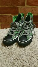 """CONVERSE ALL STAR PERSONALIZED """"STEPHANIE"""" BLACK AND GREEN SIZE 5 1779"""