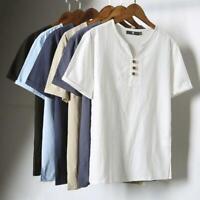 Mens Linen Cotton Blend Short Sleeve T-shirt Henley Neck Style Casual Tops Tee
