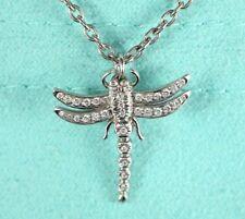 Tiffany & Co Platinum Pave Round Diamond Dragonfly Pendant 16'' Chain Necklace