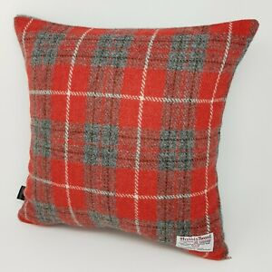 Red check Harris Tweed holly berry handmade genuine quality Cushion Cover