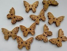 10 Wooden Butterfly-shaped Buttons, Brown. Sewing/Textiles/Jewellery Making