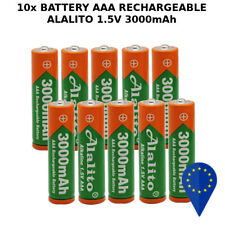 10x BATTERY ALALITO AAA 3000mAh 1.5V BATTERIA RECHARGEABLE ALKALINE RAM MINI ST.