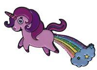 Stickeroonie Unicorn Farting a Glitter Rainbow Enamel Lapel Pin 1.6 inches