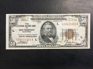 "1929 NATIONAL BANKNOTE PAPER MONEY - 50 DOLLARS ""SAN FRANCISCO"" BANKNOTE!"