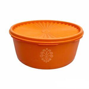 Tupperware Round Storage Container 1204 + Lid 1205 Orange Servalier