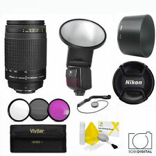 NIKKOR 70-300mm f4-5.6G Lens +  FLASH  FOR NIKON D3100 D3200 D3300 D5000 D5100