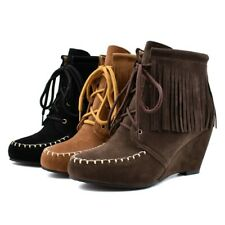 Plus Size Womens Tassels Boots Wedge Heel Lace Up Faux Suede Warm Moccasin Boots