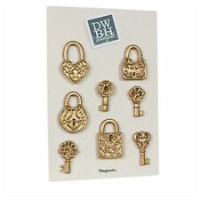 Fridge Magnet Gold Assorted Lock & Key Gift  - Vintage Shabby Chic Antique Retro