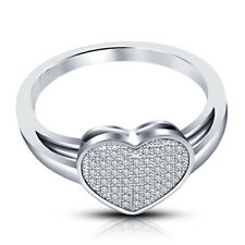 Promise Ring 14K White Gold Finish 1.05Ct Heart Cut Round Diamond Solitaire