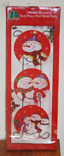 3pc Red Snowman Decorative Wall Plates & Rack