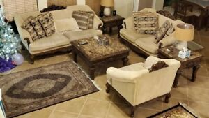Classic good used living room furniture with covers, bought from bell furnitur.