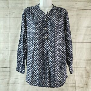 Gap Womens Maternity Popover Blouse Sz Small Blue Pink Floral Long Sleeve