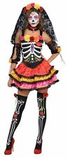 Womens Day Of The Dead Senorita Skeleton Halloween Fancy Dress Costume Size16-18