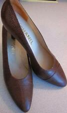 CHANEL Dark Brown Leather Reptile Animal Print Pumps Sz 39.5 / 9.5 Rt $775