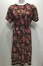 Vintage Red Floral Beautiful Summer Comfy Short Sleeve Women Dress Size XLarge