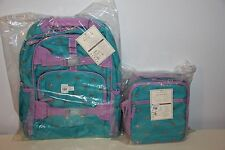 Pottery Barn Kids Teal Glitter Heart LARGE Backpack & Classic Lunch Box NWT