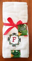 NEW St. Nicholas Square SET OF 2 Monogrammed Letter 'F' Holiday Towels Christmas