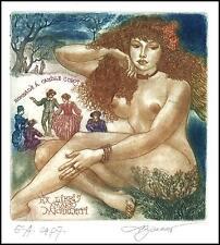 David Bekker Exlibris C4 Erotic Erotik Nude Nudo Woman d103