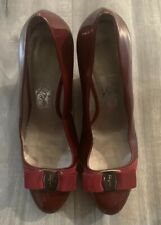 Salvatore Ferragamo Red Patent Leather Wedge Signature Bow Sz 8 1/2B