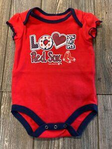 NWT Girls Boston Red Sox Red/Navy Blue Short Sleeve Logo Bodysuit 3/6 Months