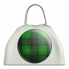 Plaid Green Gray Grey Pattern White Metal Cowbell Cow Bell Instrument
