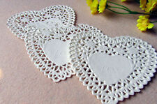 100pcs 4 inch Heart-shaped Paper Doilies Cake Mat Cake Decor Lace Pad Hollow