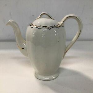 Vintage Grindley England Cream petal Ceramic Porcelain Coffee Pot With Gold Trim