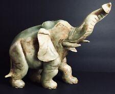 Beautiful Jade Elephant Statue China Large 7 3/8� In Box (1581).