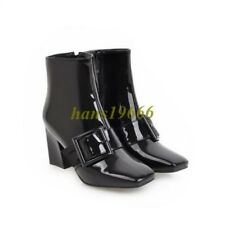 Fashion Mid Heel Pointy Toe Ankle Boots Buckle Women's Patent Leather Size us