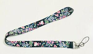 Hello Kitty Black Flower Lanyard, Neck Strap, ID holder, UK Seller