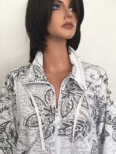 Dressbarn Plus Size 18/20 Women Paisley Zipper Down Top Designer Fashion Hip