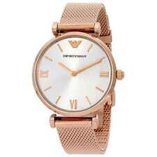 ARMANI WOMENS AR1956 ROSE GOLD WATCH SILVER DIAL MESH STRAP, COA, RRP £299.00