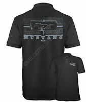 Velocitee Speed Shop Mens Polo Shirt Genuine Licensed Ford Mustang Grille A11398