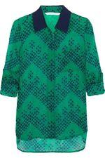Diane von Furstenberg Lorelei printed silk-Top Blouse Nwt US10