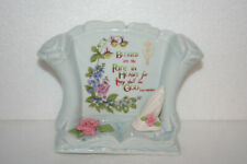 Hand Decorated Ceramic Scroll Figurine Blessed Are the Pure in Heart Rose Hands