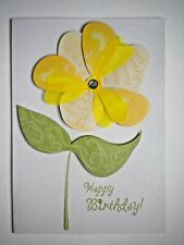 "PAPER MAGIC ~ EMBELLISHED ""HAPPY BIRTHDAY"" FLOWER GREETING CARD + ENVELOPE"